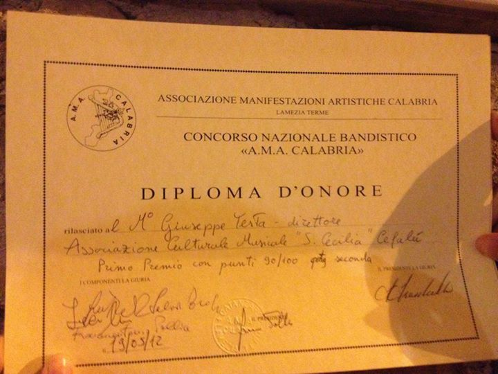 A.M.A. Calabria - Diploma d'onore